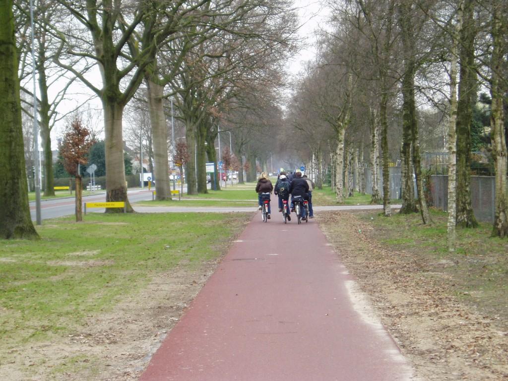 Sommige bedrijventerreinen zou je als fietser willen vermijden, maar in Wijchen is dat anders.